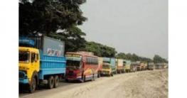 ঢাকা-টাঙ্গাইল মহাসড়কে ৪০ কিলোমিটার যানবাহনের চাপ